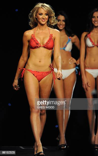Contestants parade swimsuits during the judging of Miss Universe Australia in Sydney on April 22 2009 The winner was Rachael Finch from Queensland...