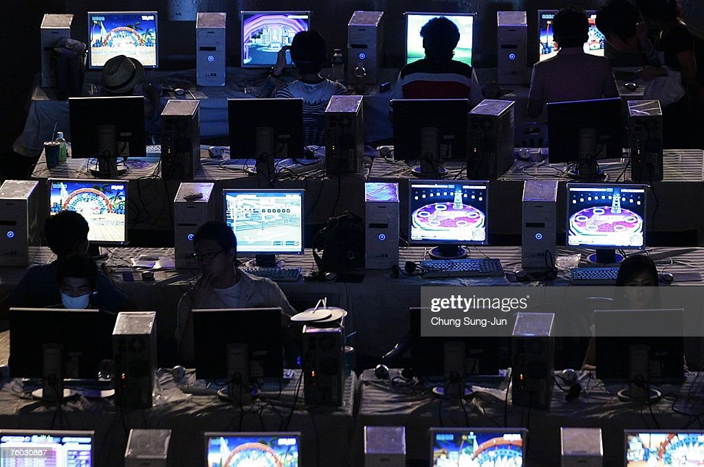 Contestants play computer games during the 'E-Stars Seoul 2007' game festival hosted by the Seoul Metropolitan Government at Seoul Olympic Park on August 9, 2007 in Seoul, South Korea. E-sports gaming boomed in South Korea in the late 1990s and is now played by 17 million people across the country. The 'E-Stars Seoul 2007' event hopes to promote the gaming industry and the culture of gaming.