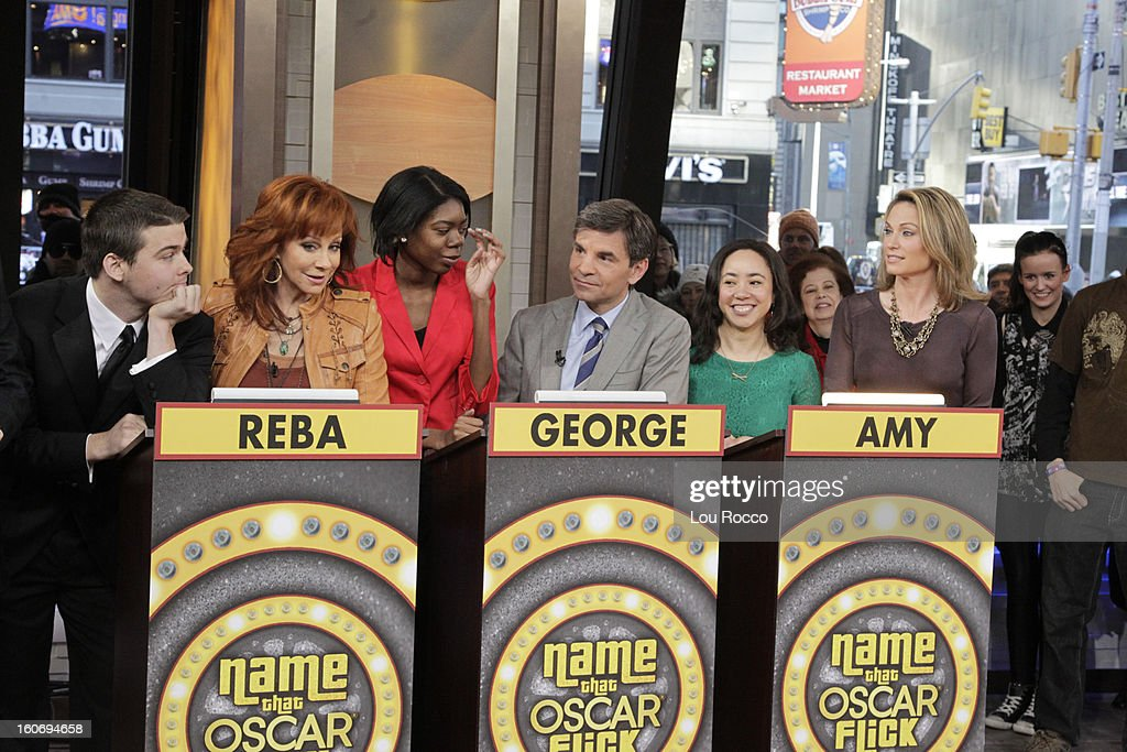 AMERICA - Contestants play Name the Oscar Flick on 'Good Morning America,' 2/4/13, airing on the ABC Television Network. The Oscar appears courtesy of ©AMPAS. (Photo by Lou Rocco/ABC via Getty Images) CONTESTANTS