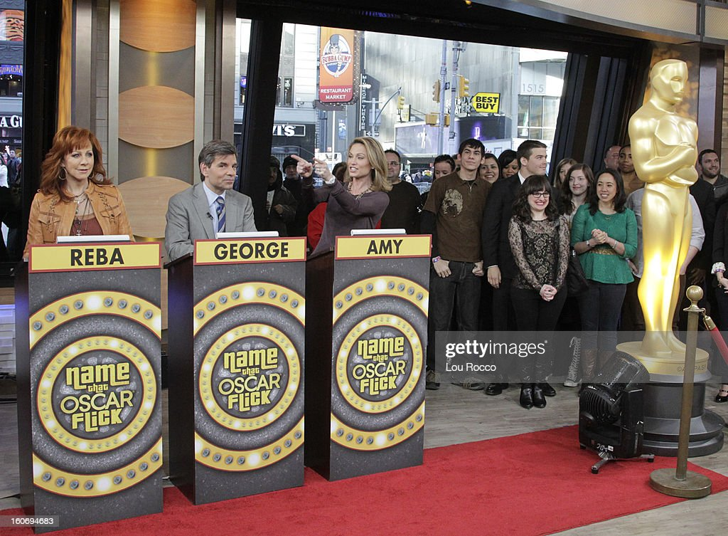 AMERICA - Contestants play Name the Oscar Flick on 'Good Morning America,' 2/4/13, airing on the ABC Television Network. The Oscar appears courtesy of ©AMPAS. (Photo by Lou Rocco/ABC via Getty Images) REBA
