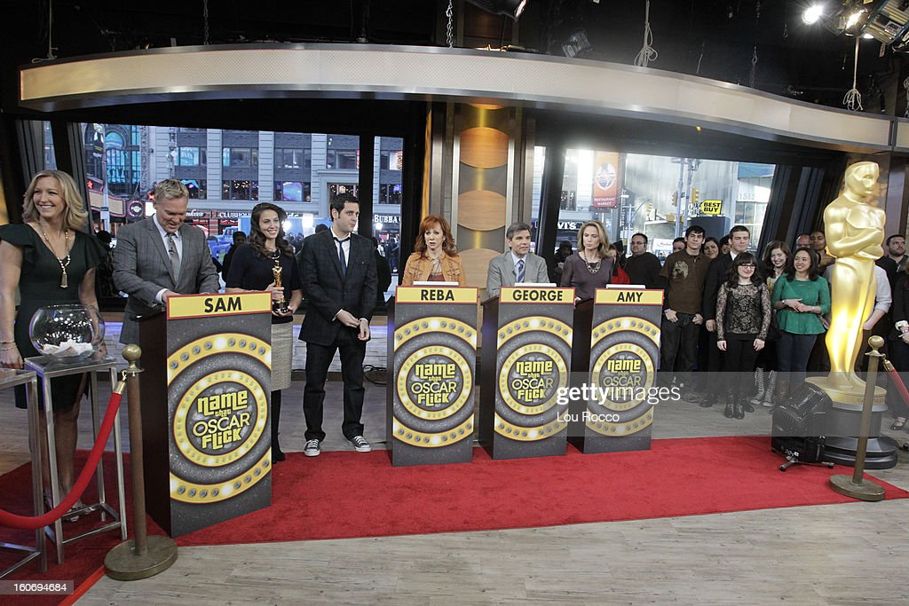 AMERICA - Contestants play Name the Oscar Flick on 'Good Morning America,' 2/4/13, airing on the ABC Television Network. The Oscar appears courtesy of ©AMPAS. (Photo by Lou Rocco/ABC via Getty Images) LARA