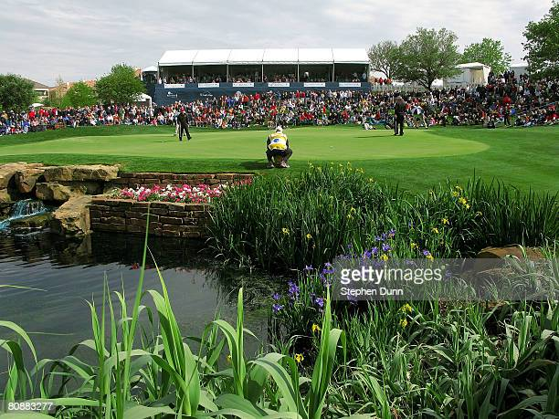Contestants play the 17th hole during the final round of the EDS Byron Nelson Championship at TPC Four Seasons Resort Las Colinas April 27 2008 in...