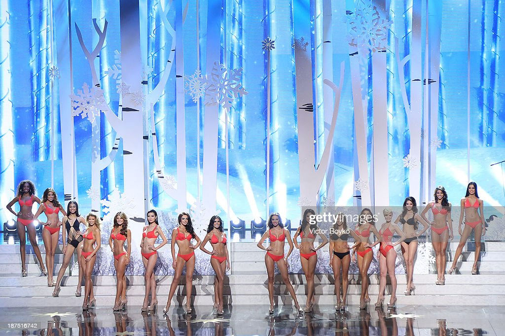 Contestants pose on stage during the Miss Universe Pageant Competition 2013 on November 9, 2013 in Moscow, Russia.