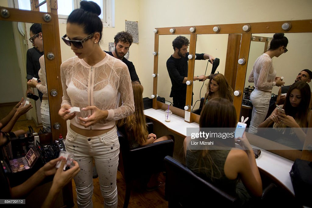 A Contestants prepare backstage during the first Miss Trans Israel beauty pageant on May 27, 2016 in Tel Aviv, Israel. Twelve Israeli transgender finalists took part in the event. The event marks the beginning of the 2016 Pride events.