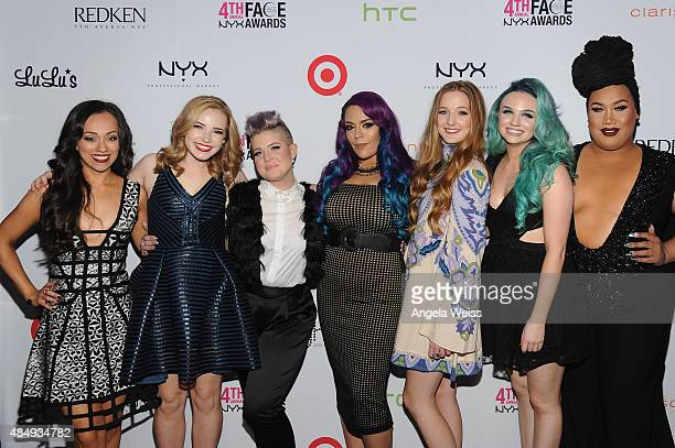 Contestants Rosy McMichael Erin Timony host Kelly Osbourne contestants Lorena 'LoLo' Gallardo Elsa Rhae Mykie and Patrick Simondac attend the 4th...