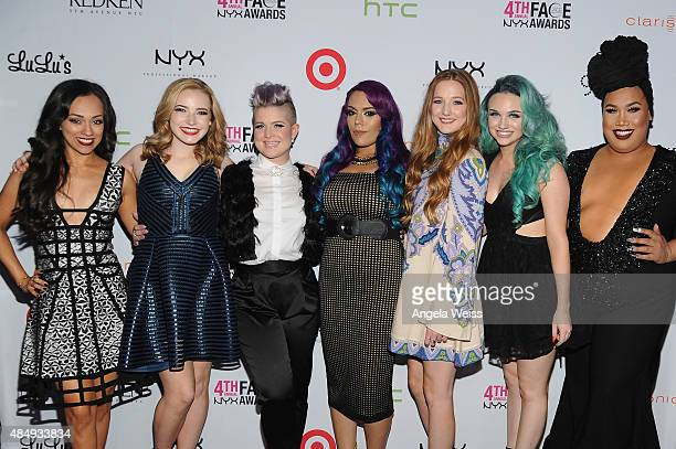 Contestants Rosy McMichael Erin Timony host Kelly Osbourne winners Lorena 'LoLo' Gallardo Elsa Rhae Mykie and Patrick Simondac attend the 4th Annual...