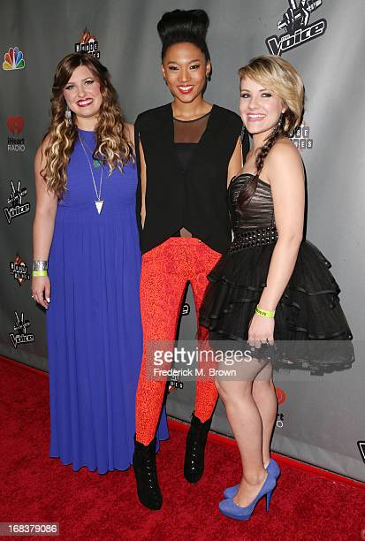 Contestants Sarah Simmons Judith Hill and Amber Carrington attend NBC's 'The Voice' Season 4 Red Carpet Event at the House of Blues Sunset Strip on...