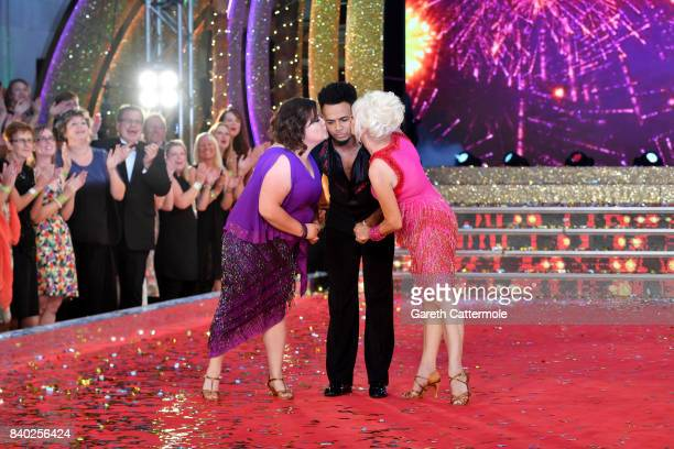 Contestants Susan Calman Aston Merrygold and Debbie McGee attend the 'Strictly Come Dancing 2017' red carpet launch at The Piazza on August 28 2017...