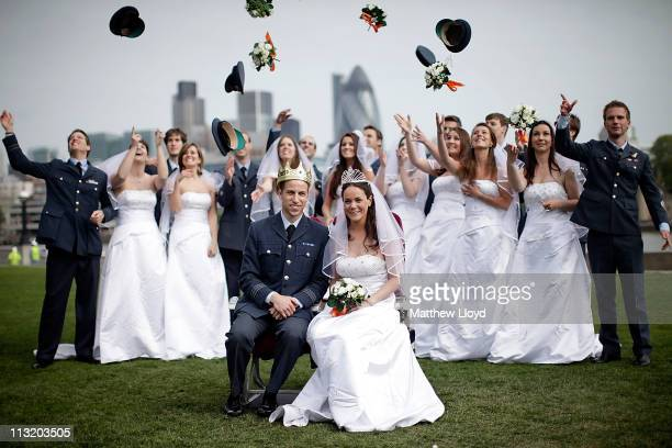 Contestants take part in a Prince William and Catherine Middleton lookalike competition organised by the airline Easyjet on April 27 2011 in London...