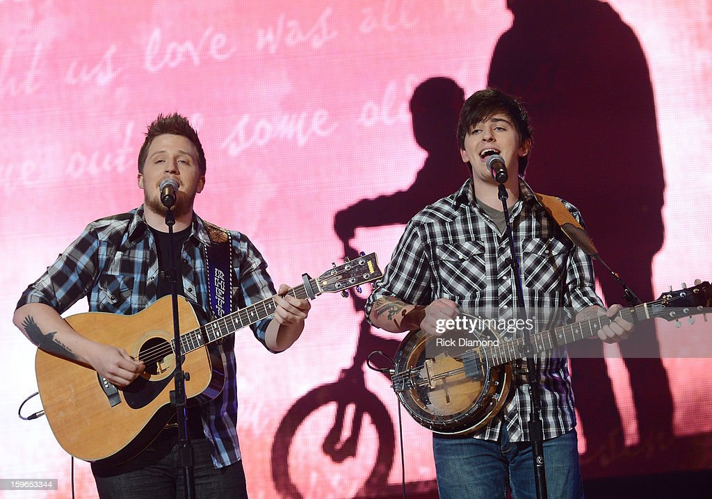 Contestants The Brothers Roberson perform at the 31st annual Texaco Country Showdown National final at the Ryman Auditorium on January 17, 2013 in Nashville, Tennessee.