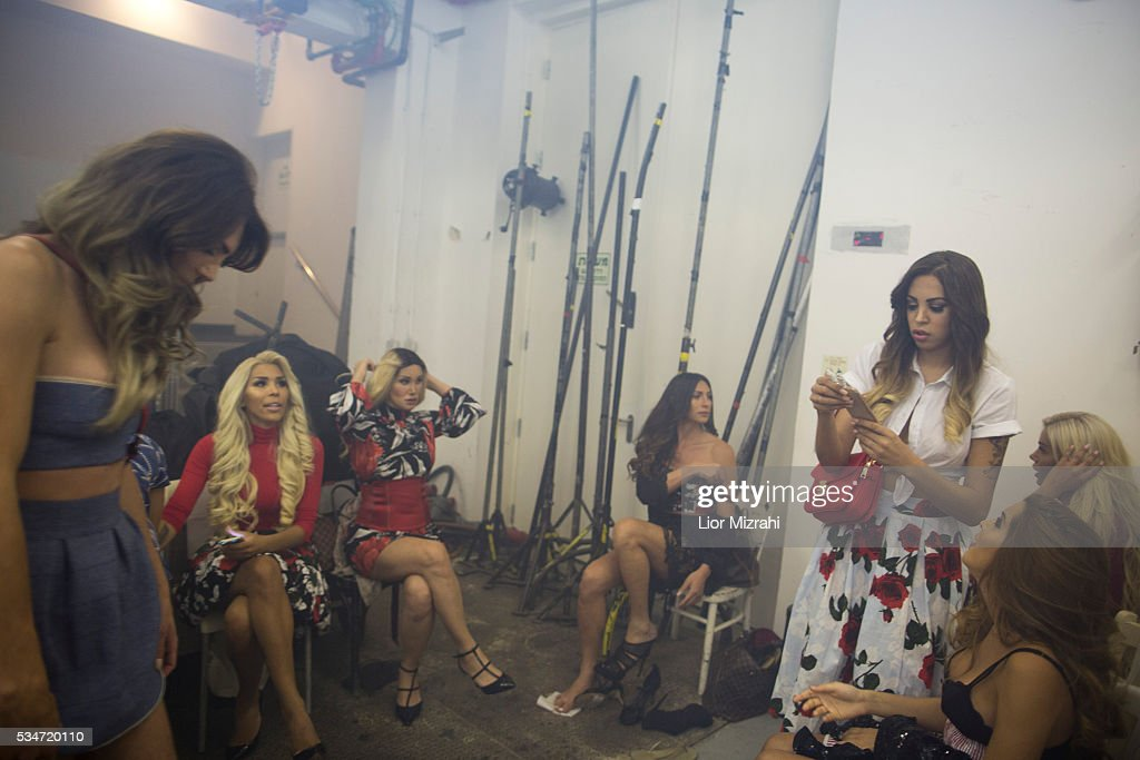 Contestants wait backstage during the first Miss Trans Israel beauty pageant on May 27, 2016 in Tel Aviv, Israel. Twelve Israeli transgender finalists took part in the event. The event marks the beginning of the 2016 Pride events.