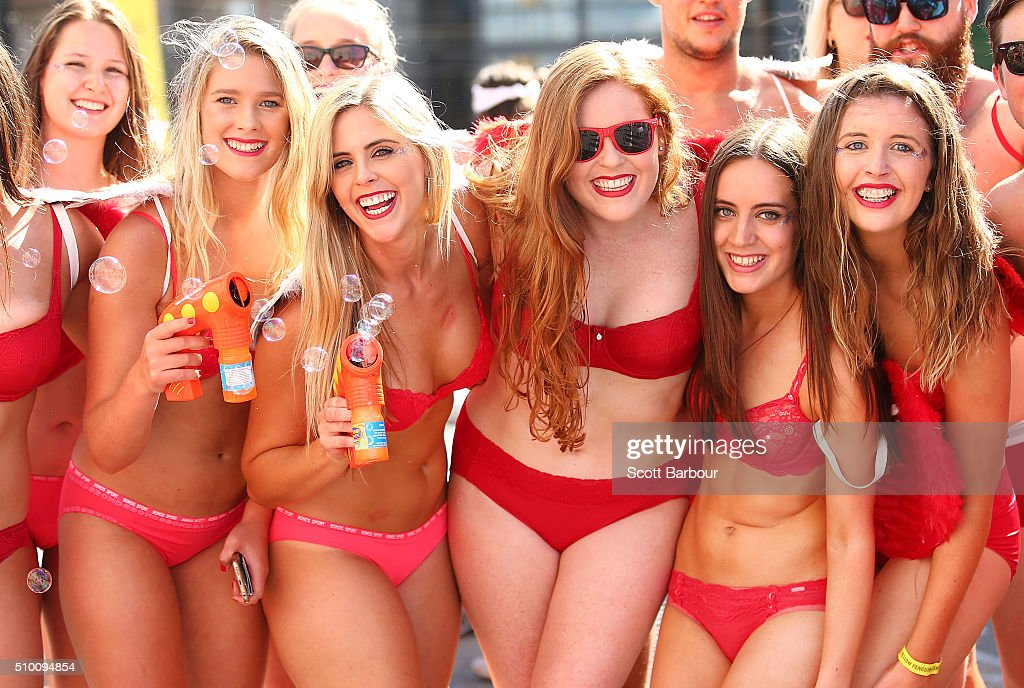 Contestants wearing their underwear prepare to take past in Cupids Undie Run on February 14, 2016 in Melbourne, Australia. Cupid's Undie Run is an annual charity event. The fun run encourages people to run in their best pair of undies is held on Valentine's Day and raises money for the Children's Tumour Foundation of Australia. Cupid's Undie Run takes place in 36 cities worldwide and raised $3.5 million last year.