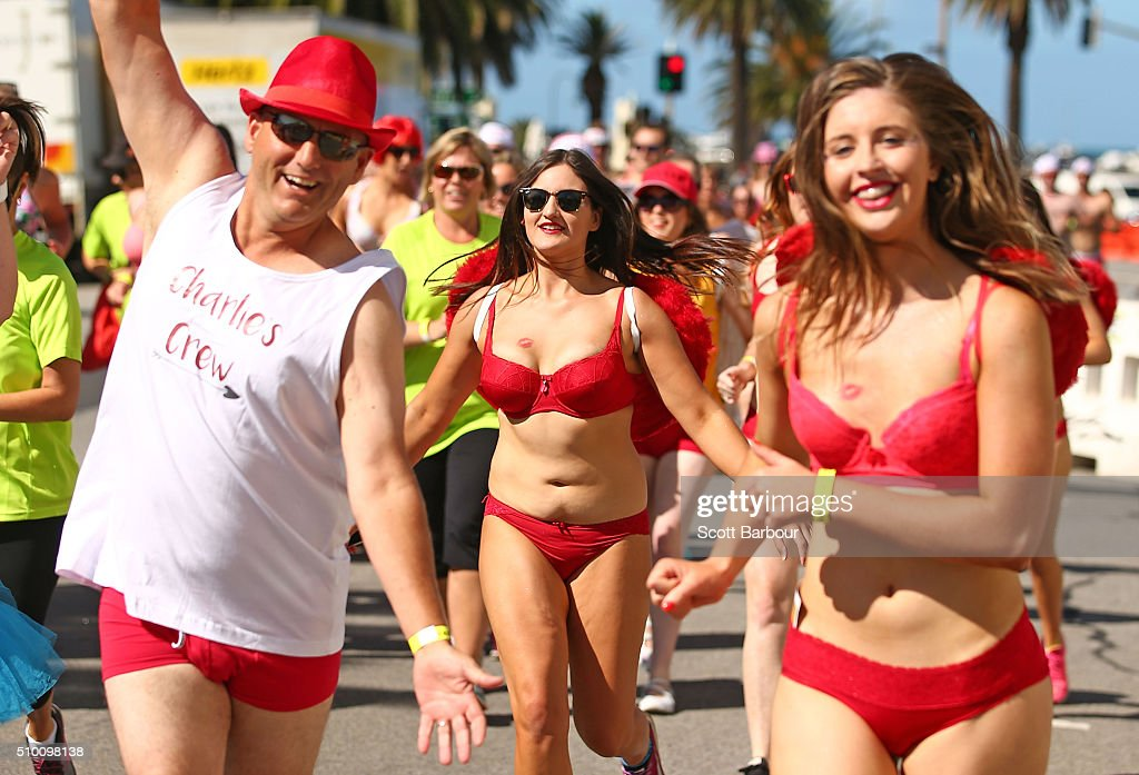 Contestants wearing their underwear take part in Cupids Undie Run on February 14, 2016 in Melbourne, Australia. Cupid's Undie Run is an annual charity event. The fun run encourages people to run in their best pair of undies is held on Valentine's Day and raises money for the Children's Tumour Foundation of Australia. Cupid's Undie Run takes place in 36 cities worldwide and raised $3.5 million last year.