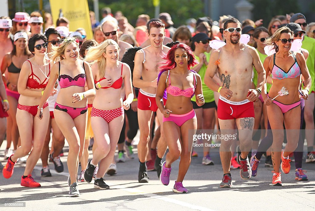 Contestants wearing their underwear take past in Cupids Undie Run on February 14, 2016 in Melbourne, Australia. Cupid's Undie Run is an annual charity event. The fun run encourages people to run in their best pair of undies is held on Valentine's Day and raises money for the Children's Tumour Foundation of Australia. Cupid's Undie Run takes place in 36 cities worldwide and raised $3.5 million last year.