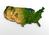 3D rendering of extruded high-resolution physical map (with relief) of the contiguous 48 USA States, isolated on white background. Modeled and rendered with Houdini 16.5 Satellite image from NASA: htt