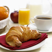 continental breakfast with milk coffee orange juice and brioche