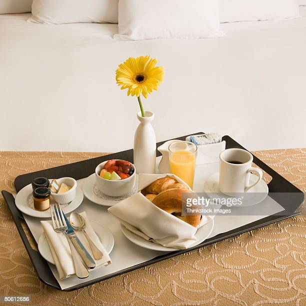 Continental breakfast on tray