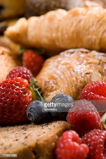 Continental Breakfast with fresh raspberries, blueberries and croissants