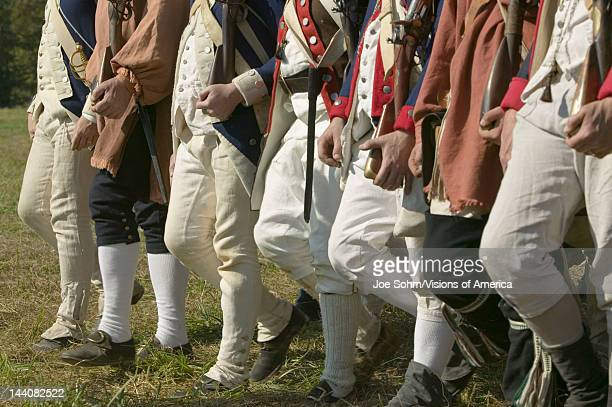 Continentals on the march in reenactment of Attack on Redoubts 9 10 where the major infantry action of the siege of Yorktown took place General...
