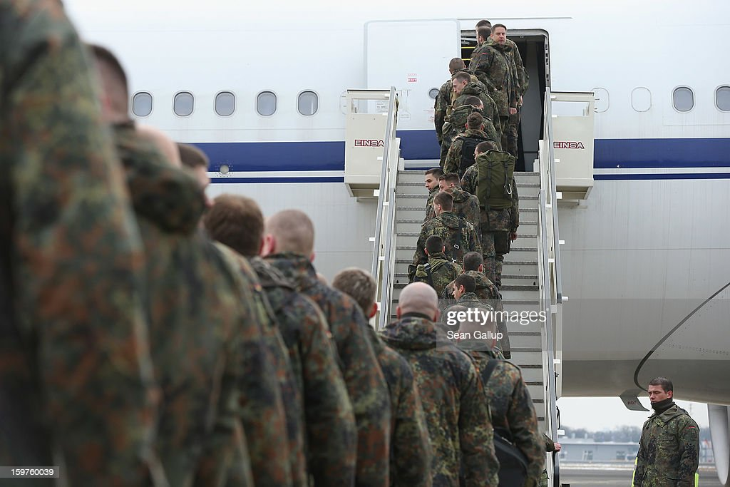 A contingent of approximately 240 soldiers of the German Bundeswehr board a plane for Turkey on January 20, 2013 in Berlin, Germany. German is committing two units of Patriot anti-missile systems to help defend Turkey from possible attack from Syria.