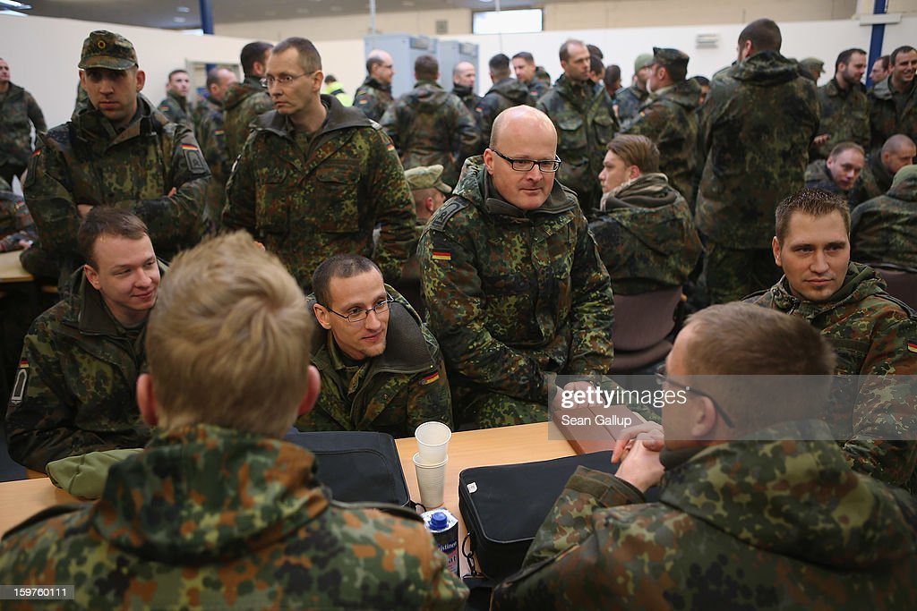 A contingent of approximately 240 soldiers of the German Bundeswehr gather to board a plane for Turkey on January 20, 2013 in Berlin, Germany. German is committing two units of Patriot anti-missile systems to help defend Turkey from possible attack from Syria.