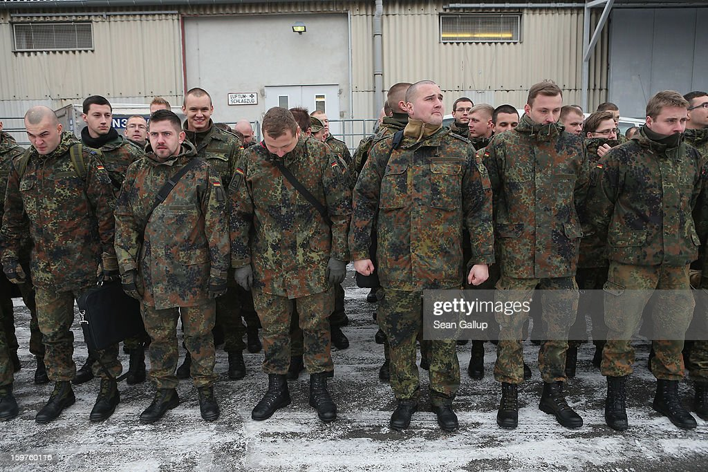 A contingent of approximately 240 soldiers of the German Bundeswehr prepare to board a plane for Turkey on January 20, 2013 in Berlin, Germany. German is committing two units of Patriot anti-missile systems to help defend Turkey from possible attack from Syria.