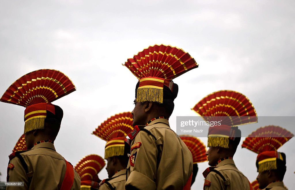 A contingent of Indian police men march during India's Independence Day celebrations on August 15, 2012 in Srinagar, the summer capital of Indian Administered Kashmir. All businesses, schools and shops were closed and traffic remained off the roads following a strike call given by Kashmiri separatist leaders against India's Independence Day celebrations in Kashmir. Meanwhile India deployed large numbers of Indian police and paramilitary forces to prevent any incidents during the official celebrations.