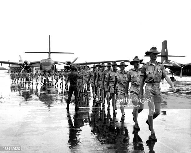 A contingent of the Royal Australian Air Force arrives at Tan Son Nhut Airport Saigon to work with the South Vietnamese and US Air Forces in...