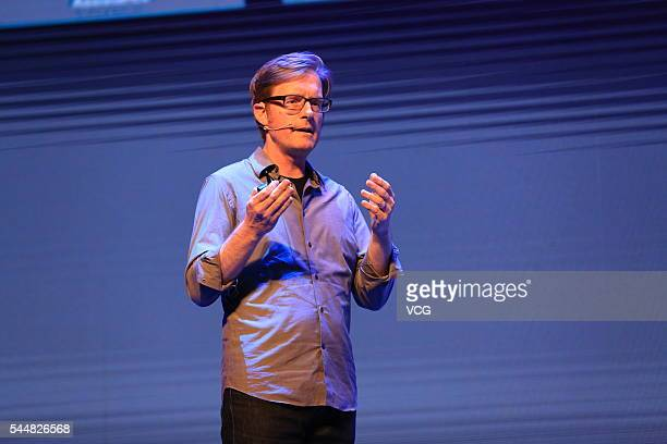 Continuum Innovation Vice President Toby Bottorf delivers a speech during he International Conference of Experience Design 2016 on July 1 2016 in...