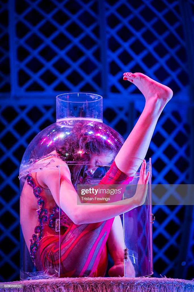 Contortionist Odka performs at the Cirque Berserk rehearals ahead of the circus opening night at The Peacock Theatre on February 8, 2016 in London, England.