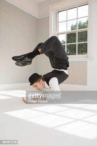 Contortionist reading a book