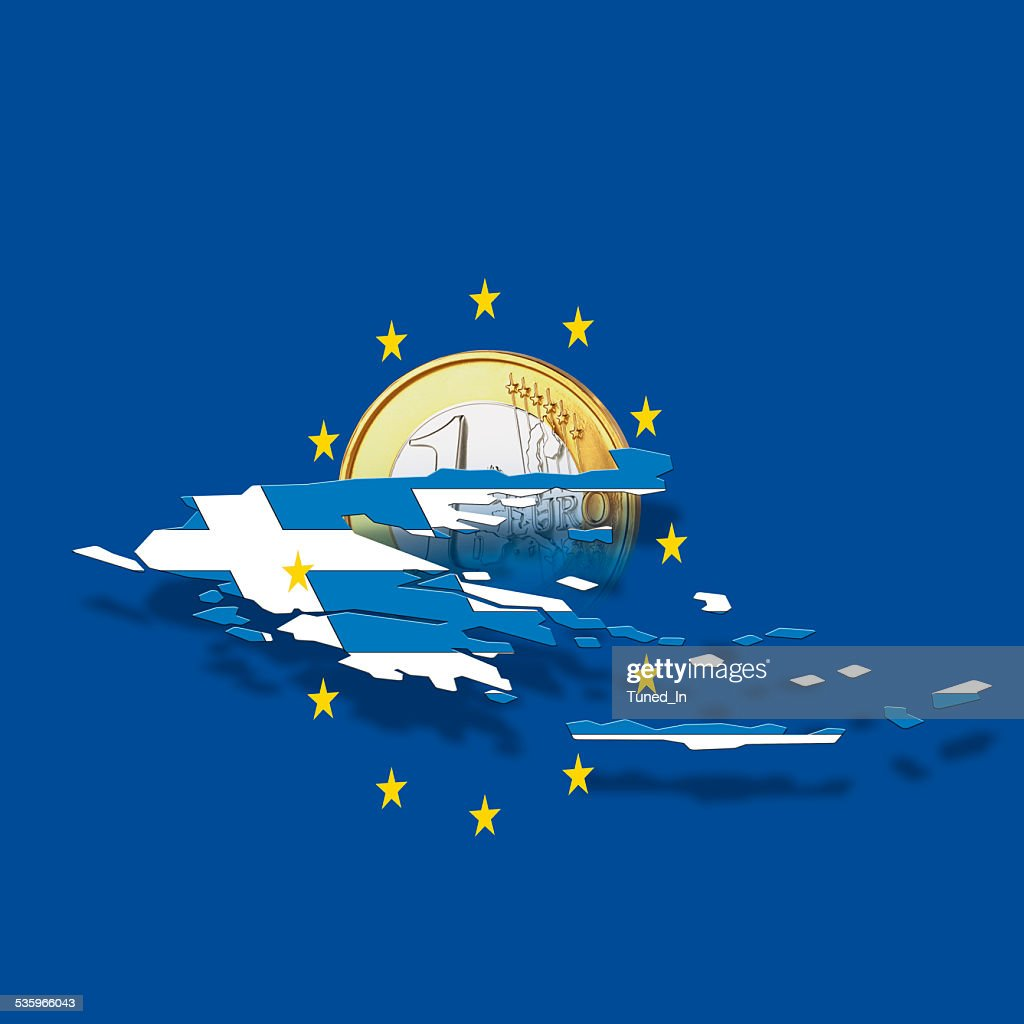 Contour of Greece with European Union stars and euro coin : Stock Photo
