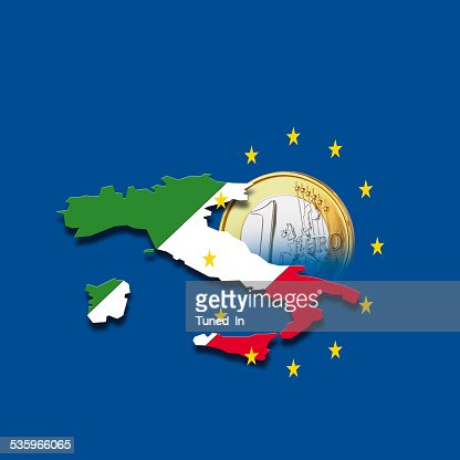 Contour of Italy with European Union stars and euro coin : Stock Photo