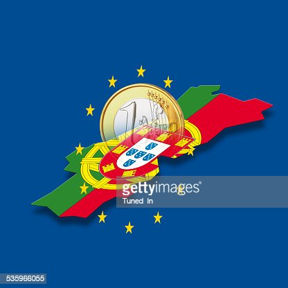Contour of Portugal with European Union stars and euro coin : Stock Photo