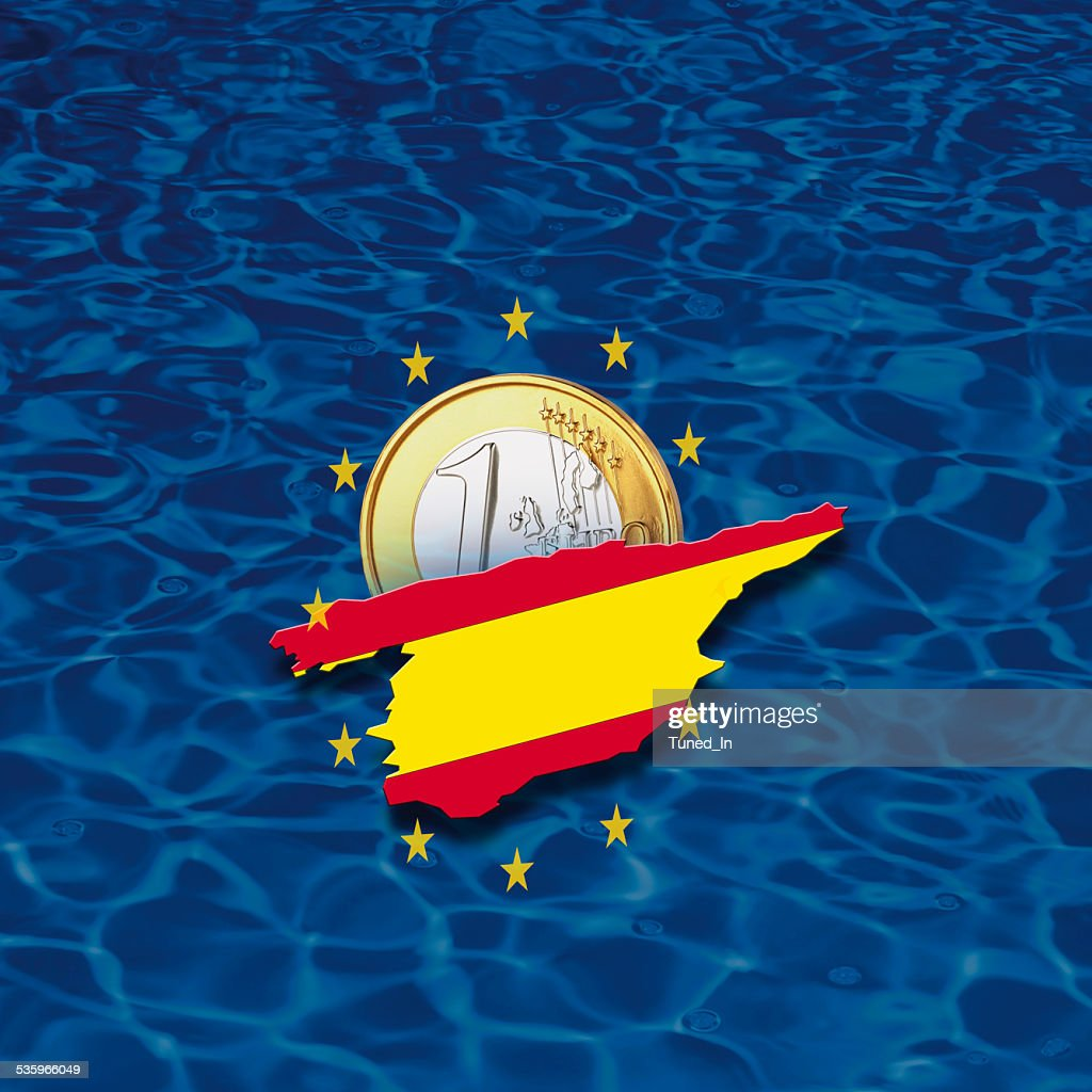 Contour of Spain with European Union stars and euro coin : Stock Photo