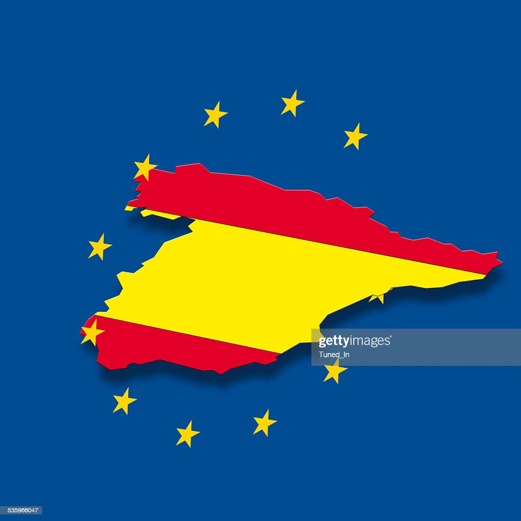 Contour of Spain with European Union stars : Stock Photo