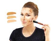 Contouring. Contour and highlight makeup.
