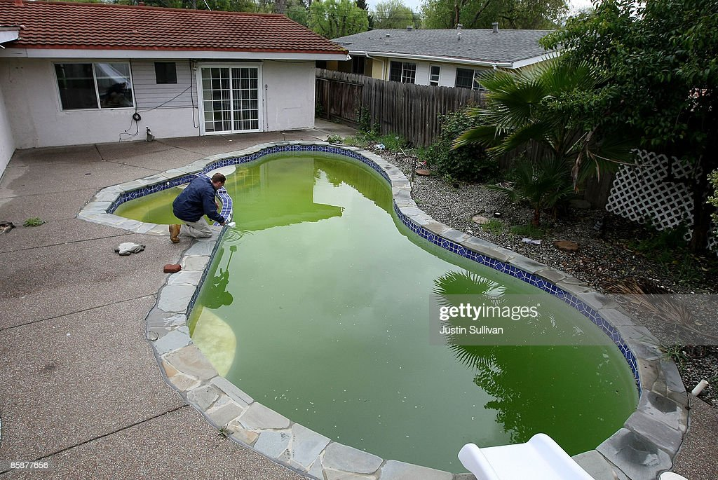 Contra Costa County Mosquito and Vector Control District technician Christopher Doll collects a water sample taken from a neglected pool at a foreclosed home April 9, 2009 in Concord, California. Unseasonably warm weather for Northern California in January appears to have brought female mosquitos out of hibernation and have started to breed months ahead of the normal breeding season. Several groups of mosquitos found in a marsh near the Contra Costa County town of Martinez have tested positive for the West Nile Virus prompting county officials to do more testing and releasing mosquito fish in abandoned pools around the county.