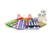 Contraception Education Concept with Oral contraceptive, Emergency Pills, Injection Contraceptive and Male Condom.