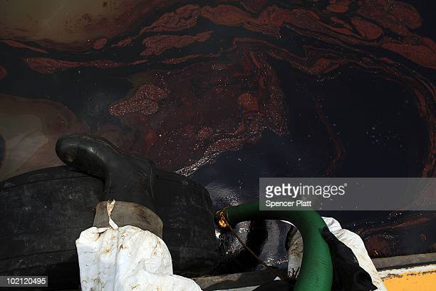 A contract cleanup worker uses a hose to collect oil in Bay Jimmy on June 15 2010 off of Grand Isle Louisiana The BP spill has been called the...