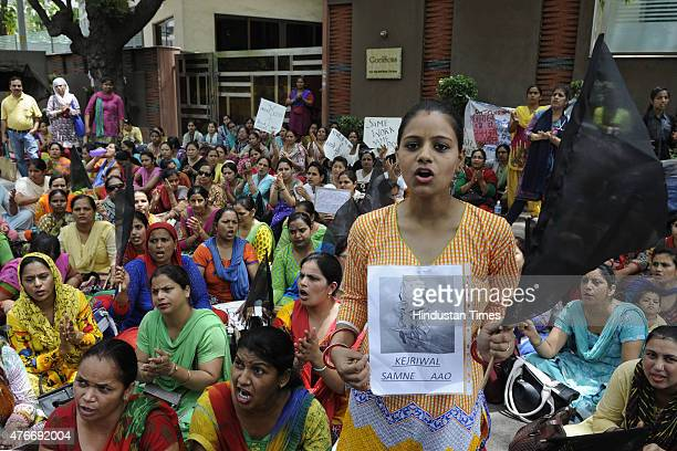 Contractual employees of National Rural Health Mission and Reproductive and Child Health programme are protesting outside the residence of Delhi...
