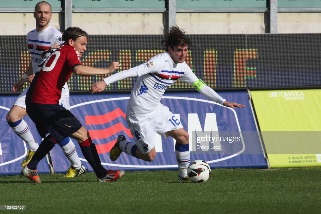 Contrast bethween Ekdal albin of Cagliari and Poli Andrea of Sampdoria in action during the Serie A match between Cagliari Calcio and UC Sampdoria at Stadio Sant'Elia on March 10, 2013 in Cagliari, Italy.