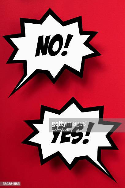 Contrasting YES & NO in speech bubbles, red background