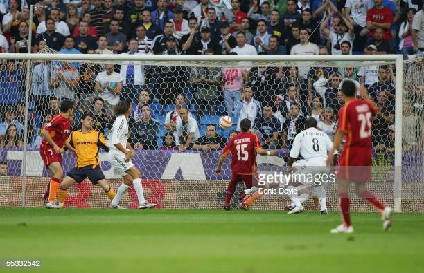 Contreras of Celta scores a goal against Real Madrid during a Primera Liga soccer match between Real Madrid and Celta de Vigo on September 10 2005 at...