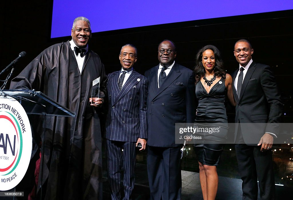 Contributing Editor at Vogue Magazine Andre Leon Talley, Founder of the National Action Network Reverend Al Sharpton, Chairman of the Board at the National Action Network Reverend Dr. W. Franklyn Richardson, Acting Executive Director of the National Action Network Janaye Ingram and media personality T.J. Holmes onstage during The 4th Annual Triumph Awards at Rose Theater, Jazz at Lincoln Center on October 7, 2013 in New York City.