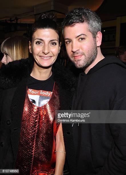 Contributing Fashion Editor to W Magazine Giovanna Battaglia and fashion designer Brandon Maxwell attends the Brandon Maxwell A/W 2016 fashion show...