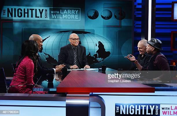 Contributor Shenaz Treasury Senator Cory Booker host Larry Wilmore comedian Bill Burr and hiphop artist/activist Talib Kweli appear on the debut...