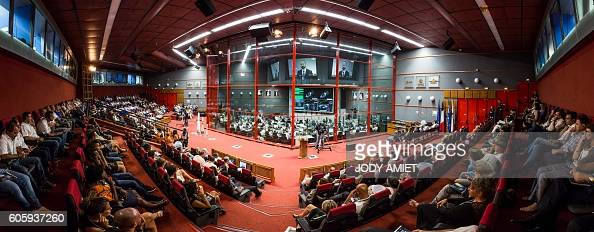 A control center is seen during the Vega rocket launching from the European Spaceport in Kourou in French Guiana on September 15 2016 The rocket...