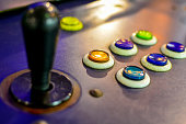 game machine control with joystick and buttons colored Round