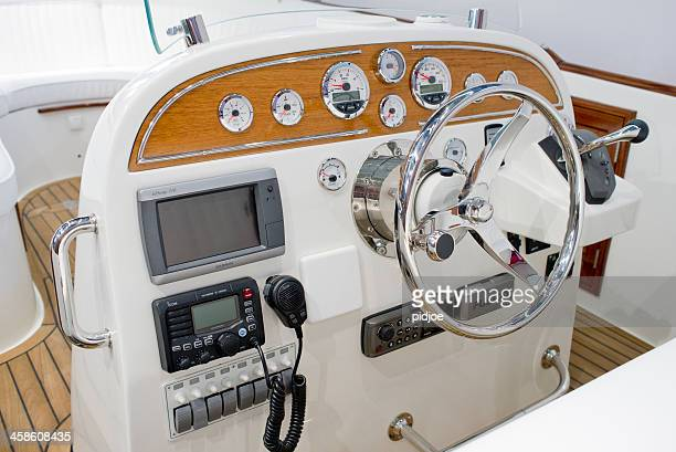 control panel and helm on motor yacht